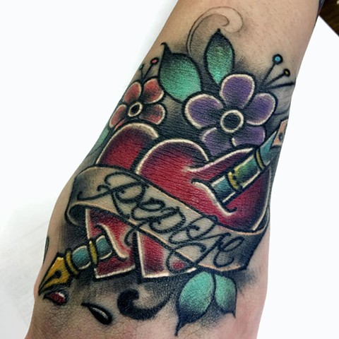 Traditional Hearts And Banner With Script Tattoo By Romeo Ostiguy Color Black Gold Tattoo Co