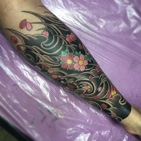 Flowers And Waves Tattoo By Guka Black And Grey With Color Black Gold Tattoo Co
