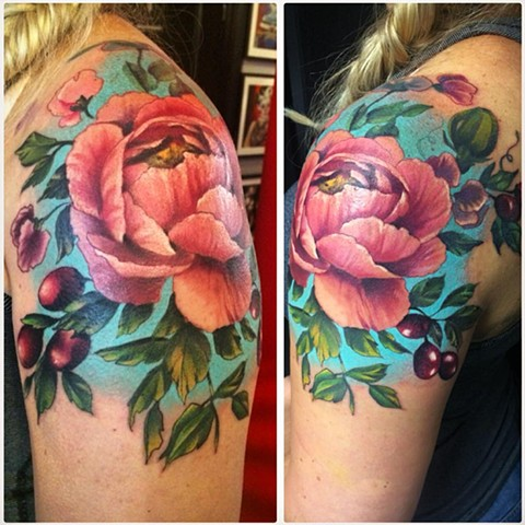 Floral Tattoo By Samantha Storey Color Crimson Empire Tattoo