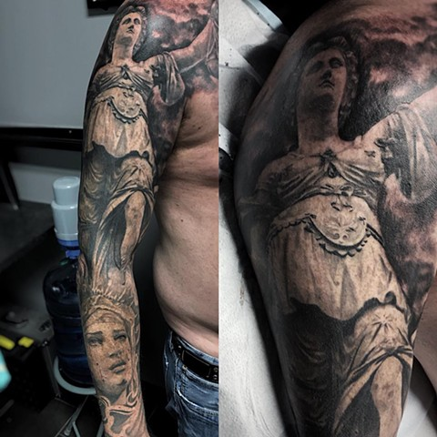 Statues Tattoo By Alan Coates Black And Grey Black Gold Tattoo Co