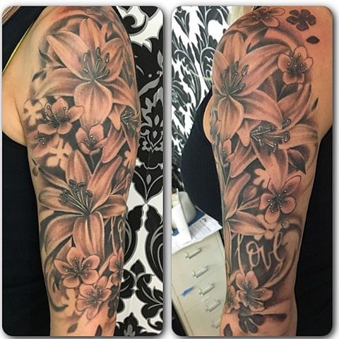 Floral Tattoo By Sarah Michelle Black And Grey Black Gold Tattoo Co