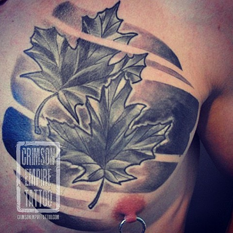 Leaf coverup on chest by Chad Clothier. Follow Chad @clobot