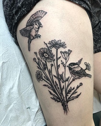 Floral Birds Leg Tattoo By Cheyanne Kot black work Crimson Empire Tattoo