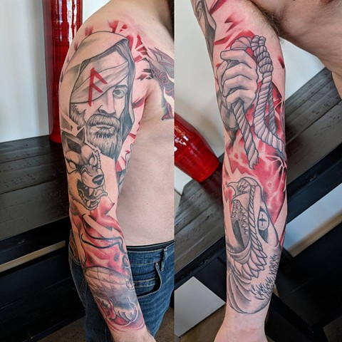 Ragnarok Full Sleeve Tattoo By Landon Wierenga Black And Grey With Color Crimson Empire Tattoo