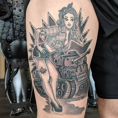 Pin Up Girl and Tank Thigh Tattoo by Sheila Anderson Black And Grey Crimson Empire Tattoo