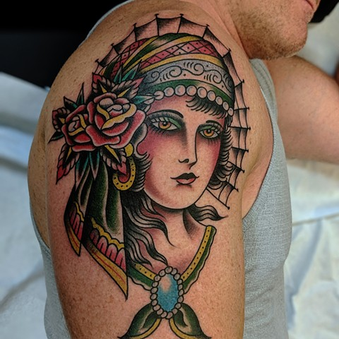 Traditional Woman Arm  Tattoo by Chris Benson Color Crimson Empire Tattoo