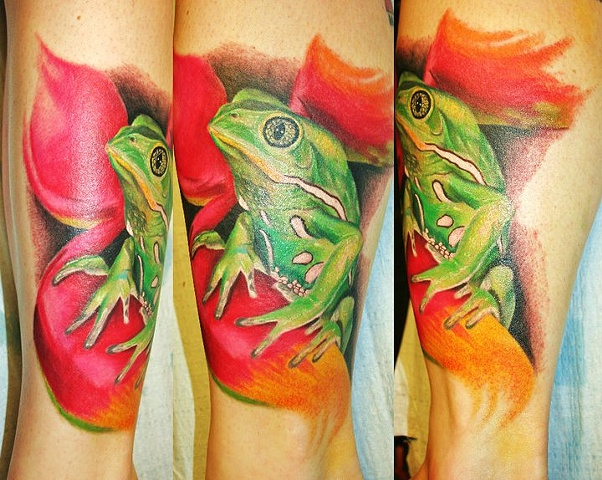 Frog Tattoo By Josh Lamoureux Color Crimson Empire Tattoo