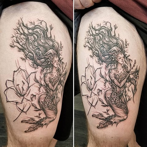 Dryad Thigh Tattoo by Adrienne Alexander Black Work Crimson Empire Tattoo