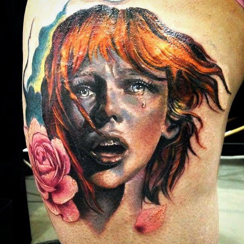 Fifth Element Leeloo Tattoo By Samantha Storey Color Crimson Empire Tattoo