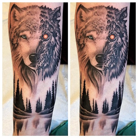 Terminator Wolf Tattoo By Chad Lavers Black And Grey Crimson Empire Tattoo