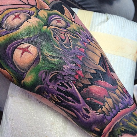 Three-Eyed Monster Tattoo By Marshall Khalil Color Crimson Empire Tattoo