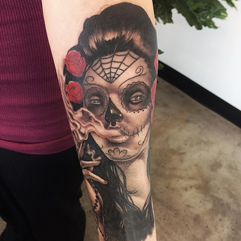 Day Of The Dead Tattoo By Chad Lavers Black And Grey Crimson Empire Tattoo