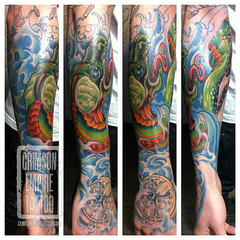 Dragon sleeve on arm by Jared Phair