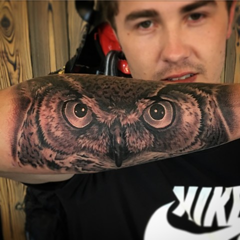 Owl Tattoo By Dale Moostoos Black And Grey Crimson Empire Tattoo