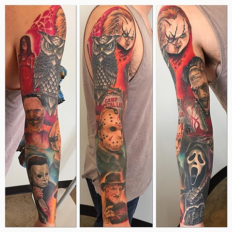 Horror Character Theme Sleeve Tattoo By Chad Color Crimson Empire Tattoo