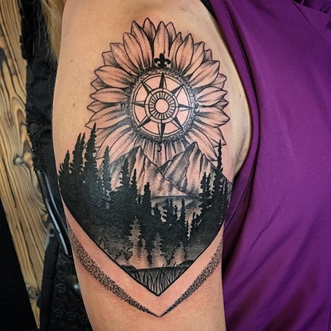 Nature Theme Tattoo By Dale Moostoos Black And Grey Crimson Empire Tattoo