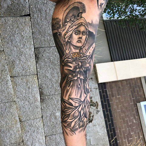Medusa Lady Of Justice Tattoo By Curt Semeniuk Black And Grey With Color Crimson Empire Tattoo
