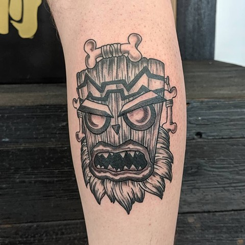 Crash Bandicoot Leg Tattoo by Sheila Anderson Black and Grey Crimson Empire Tattoo