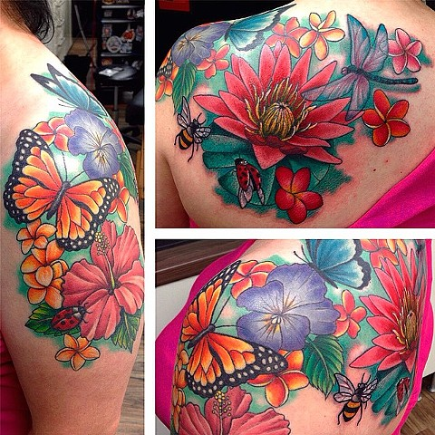 Insects With Flowers Tattoo By Jess Alther Color Black Gold Tattoo Co