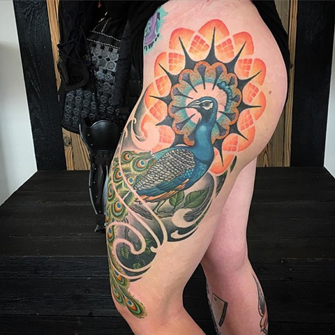 Peacock and Geometric Thigh Tattoo By Dale Moostoos Color Crimson Empire Tattoo