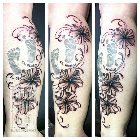 Flowers and footprints on calf by Jessica Alther. Follow Jess @jessalther