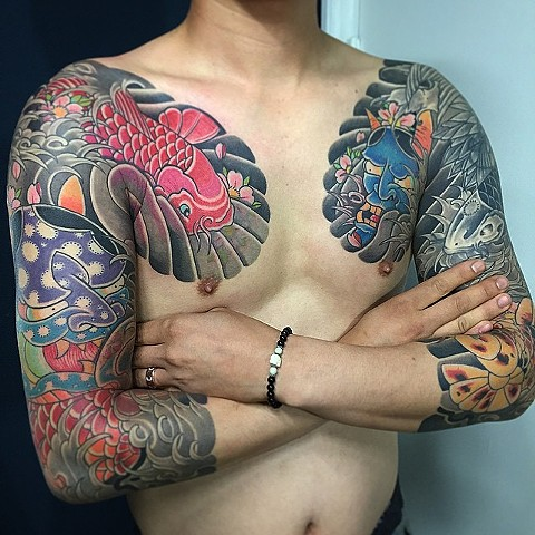 Hannya Mask And Koi Fish Tattoo By Guka Color Black Gold Tattoo Co