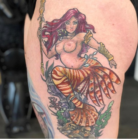 Mermaid Tattoo By Vanessa Spezowka Crimson Empire Tattoo