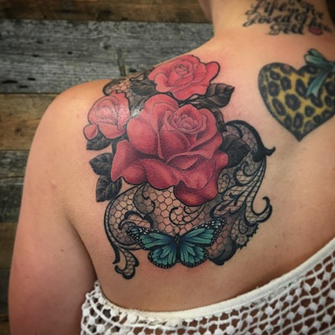 Butterfly And Rose With Lace Tattoo By Dale Moostoos Color Crimson Empire Tattoo