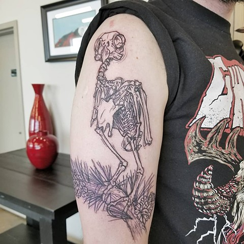 Owl Skeleton Tattoo By Adrienne Alexander Black Work Crimson Empire Tattoo