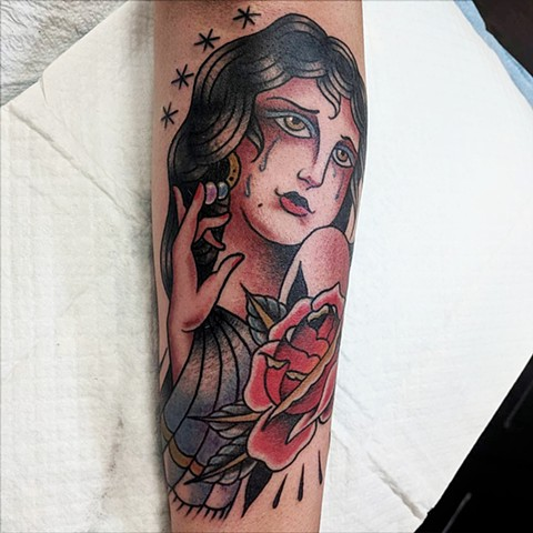 Traditional Woman Shin  Tattoo by Chris Benson Color Crimson Empire Tattoo
