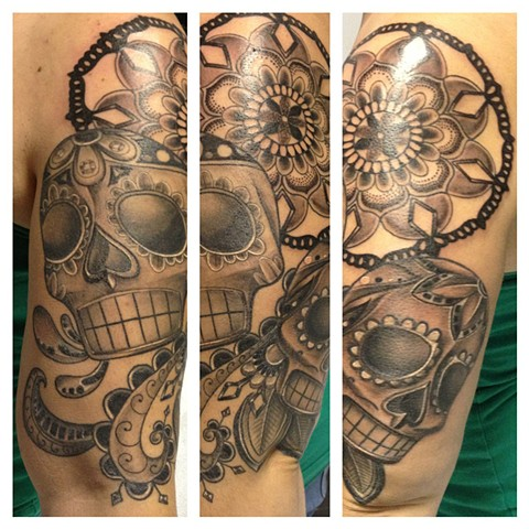 Mandala And Sugar Skulls Tattoo By Josh Lamoureux Black And Grey Crimson Empire Tattoo