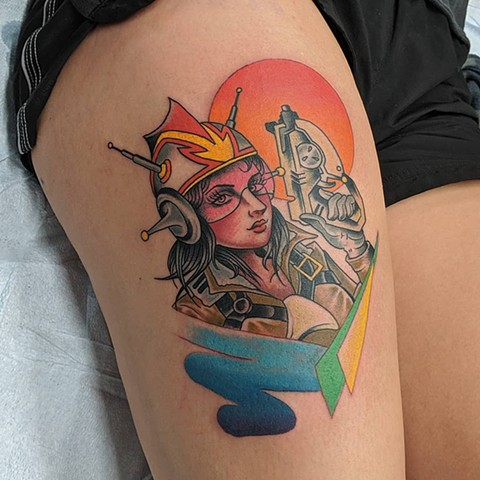 Space Lady Thigh Tattoo by Chris Benson Color Crimson Empire Tattoo