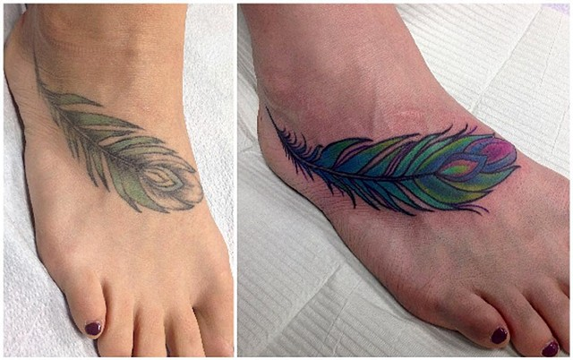Feather Tattoo By Jess Alther Color Black Gold Tattoo Co