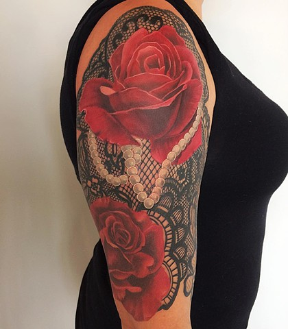 Roses With Lace And Pearls Tattoo By Chad Lavers Color Crimson Empire Tattoo