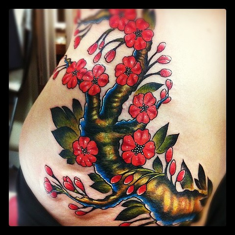 Illustrative Cherry Blossom Tattoo By Kyiel Cholik Color Crimson Empire Tattoo