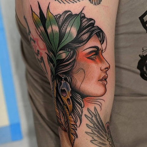 Neo-Traditional Woman Tattoo by Chris Benson Color Crimson Empire Tattoo