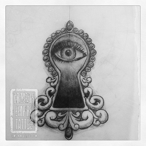 Keyhole eye sketch by Jessica Doyle. Follow Jessica @jessicadoyle