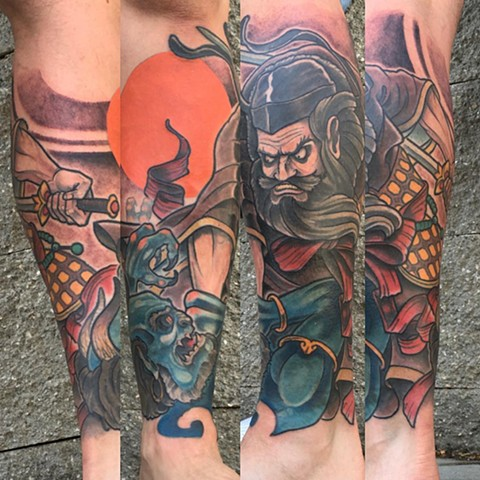 Samurai Fighting Oni Tattoo By Curt Semeniuk Color Crimson Empire Tattoo