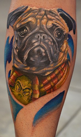 Grinch Puppy Tattoo By Josh Lamoureux Color Crimson Empire Tattoo