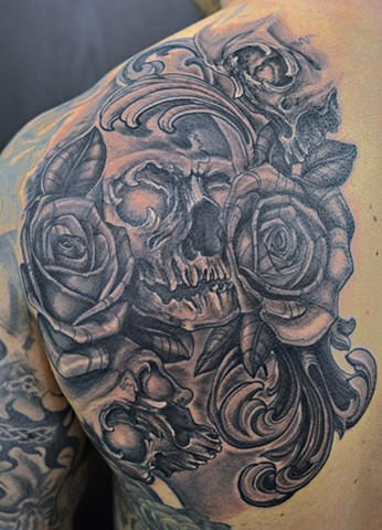 Skull And Roses Tattoo By Josh Lamoureux Black And Grey Crimson Empire Tattoo