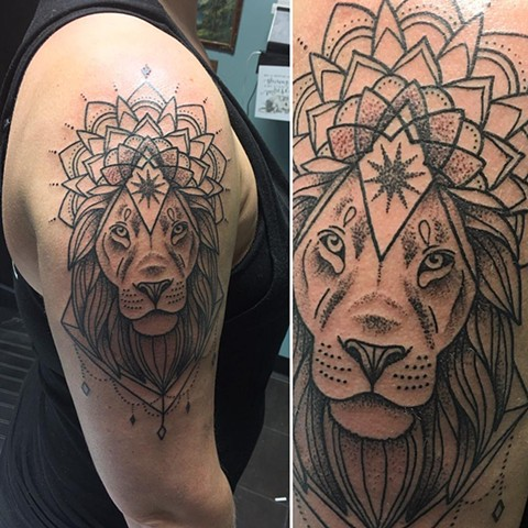 Lion Mandala Tattoo By Cheyanne Kot Pointillism Crimson Empire Tattoo