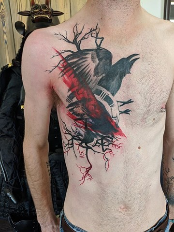 Raven And Clock Tattoo By Landon Wierenga Black And Grey With Color Crimson Empire Tattoo