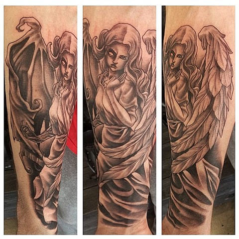 Angel Demon Hybrid Tattoo By Chad Lavers Black And Grey Crimson Empire Tattoo