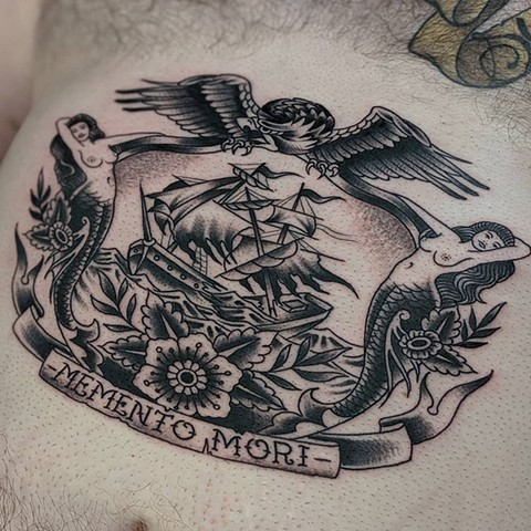 Traditional Ship Stomache  Tattoo by Chris Benson Black and Grey Crimson Empire Tattoo