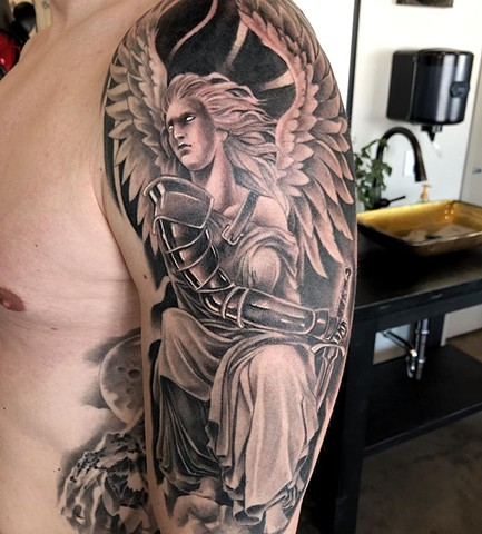 Angel Half Sleeve Tattoo by Chad Lavers Black and Grey Realism Crimson Empire Tattoo