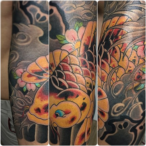 Koi Fish Tattoo By Guka Color Black Gold Tattoo Co