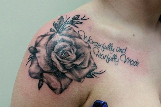 Rose And Script Tattoo By Ashley Gray Black And Grey Crimson Empire Tattoo