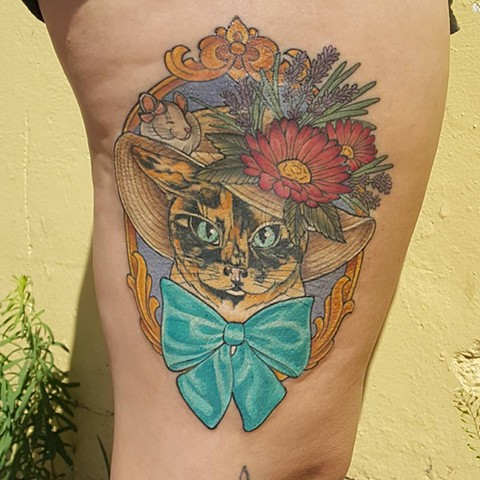 Cat Wearing A Hat With Flowers And A Frame Tattoo By Sheila Anderson Color Crimson Empire Tattoo