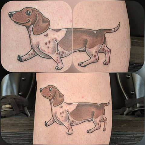 Daschund Arm Tattoo by Sheila Anderson Color Crimson Empire Tattoo