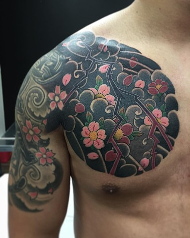 Cherry Blossom Tattoo By Guka Black And Grey With Color Black Gold Tattoo Co
